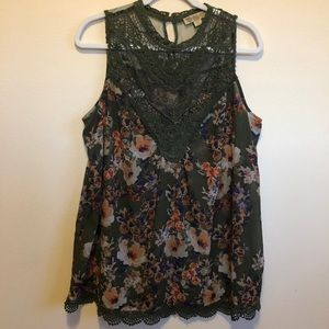 Nine West Sheer Floral Tank with Lace Detail